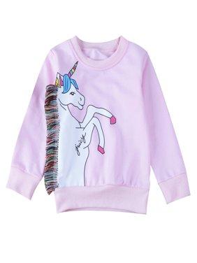 stylesilove Baby Girl Unicorn Print Long Sleeve Sweatshirt (130/5-6 Years)