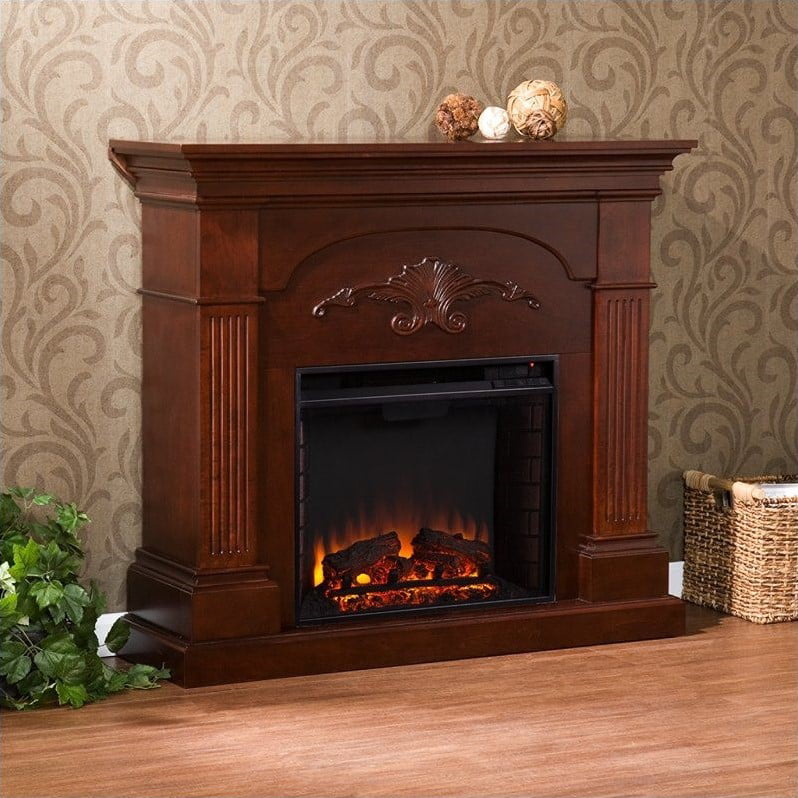 Southern Enterprises Huntington Electric Fireplace in Mahogany by Holly & Martin