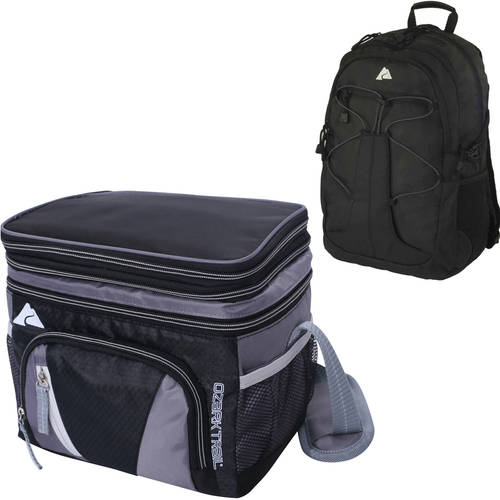 Ozark Trail 6 can Cooler Black and BONUS Manokotak Backpack Black Value Bundle