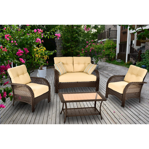 Mainstays Sienna Wicker 4-Piece Patio Conversation Set, Seats 4