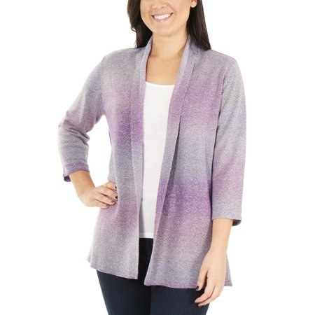 Women's Petite 3/4 Sleeve Ombre Open Front Cardigan Sweater