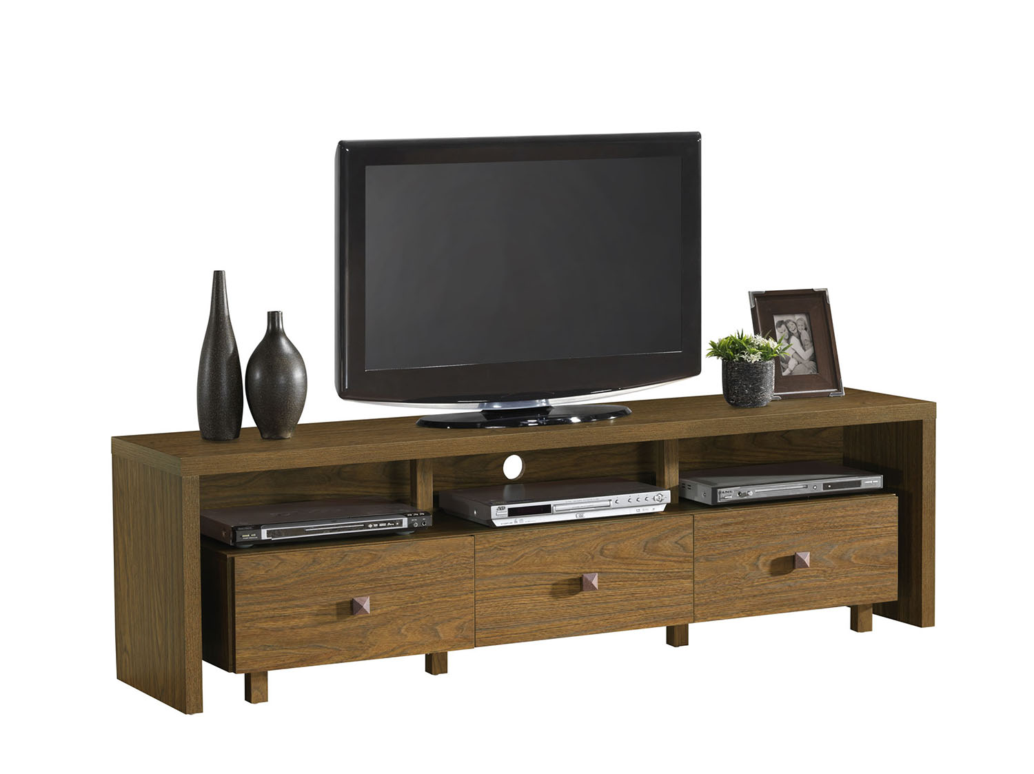 "Entertainment Center TV Stand with Drawers Shelves For TV/'s Up to 75/"" in Walnut"