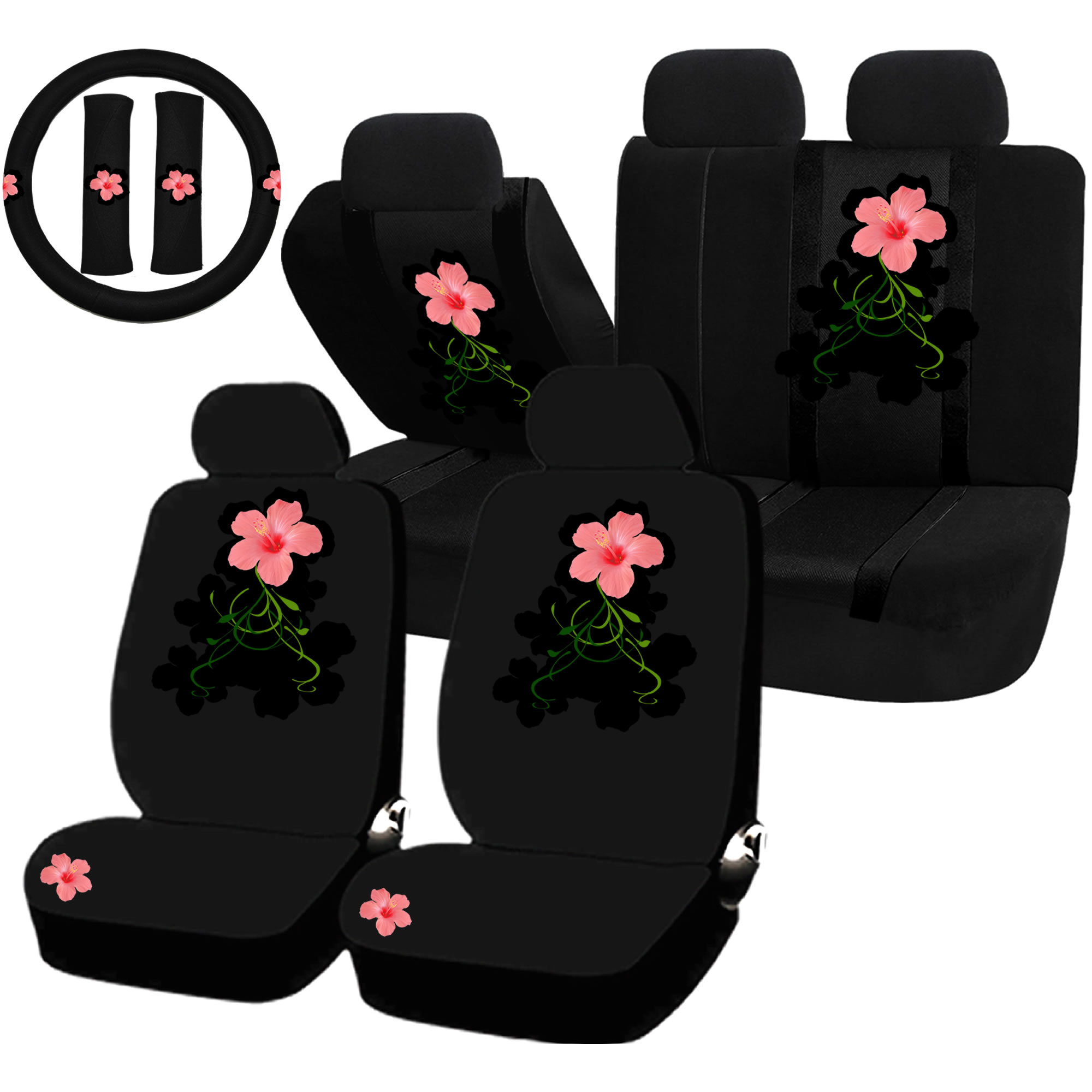 New Pink Hawaiian Flowers Hibiscus Floral Print Car Front Bucket Seat Covers
