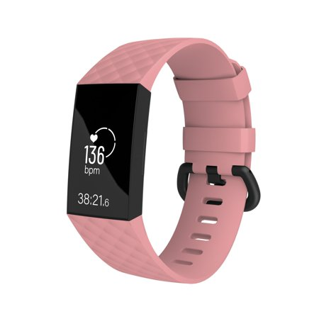 Fitbit Charge 3 Wrisband, by Zodaca Replacement Silicon Sports Wristband Watch Straps For Fitbit Charge 3 Fitness Activity Tracker - Pink Size Large ()