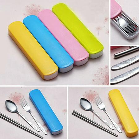 - Girl12Queen 3Pcs/Set Utensils Tableware Cutlery Set Stainless Steel Spoon Fork Chopsticks