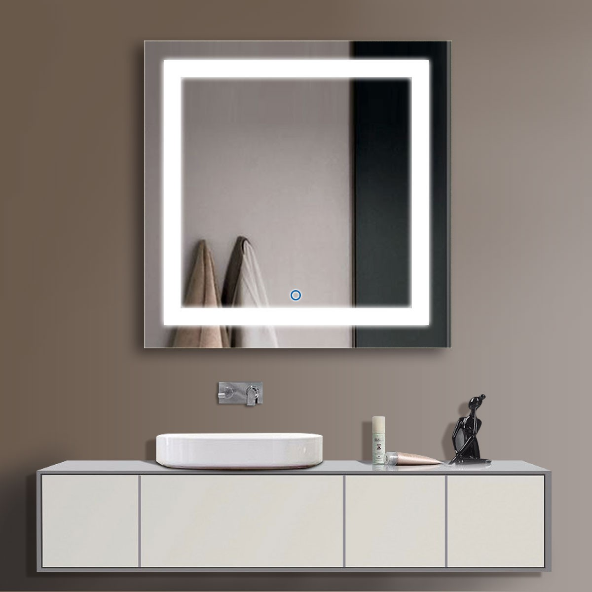 Decoraport Square 36 Bathroom Mirrors For Wall Mirror Makeup Frameless Vanity Lights X Inch Ck168 E