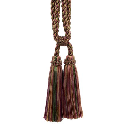 Beautiful Oak Brown, Dark Claret, Branch Curtain & Drapery Double Tassel Tieback|5 1/2