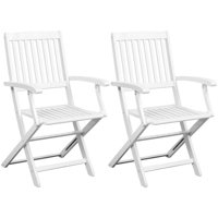 Dining Chairs 2 pcs Solid Acacia Wood White