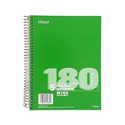 NOTEBOOK SPIRAL 5 SUBJECT 180 CT SCBMEA05680-10 (pack of 10)