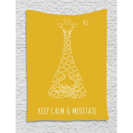 Keep Calm Tapestry, Meditative Animals Giraffe in Drawing Style on Yellow with Butterfly, Wall Hanging for Bedroom Living Room Dorm Decor, 40W X 60L Inches, Earth Yellow White, by Ambesonne