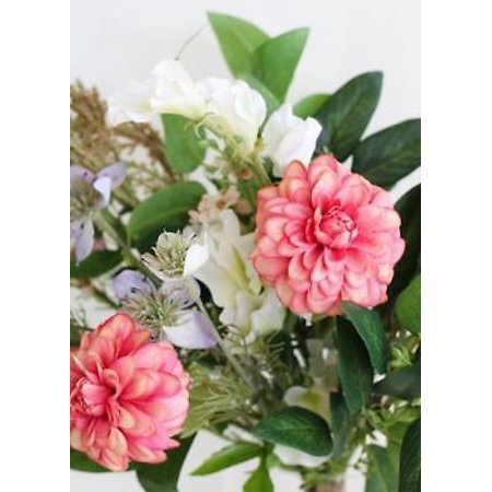 (Silk Dahlia & Wildflower Bouquet in Coral Lavender - 19