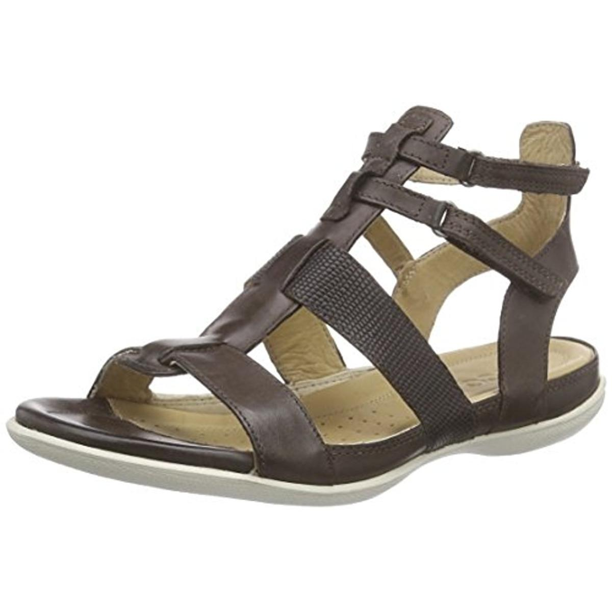 Ecco Womens Leather Textured Flat Sandals