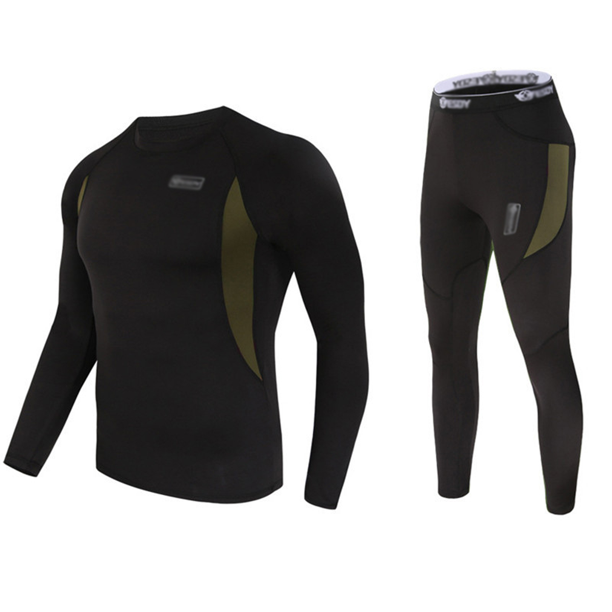 Men's Winter Thermal Underwear Camouflage Set of Long Sleeve Top Long Johns Black-M