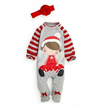 Santa Baby Boys Girls Christmas Bodysuit Romper Hat Headband Outfits Set Sz 0~24M - image 2 of 5