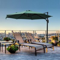 Yescom 10' Offset Patio Umbrella 8 Ribs Hanging Roma Outdoor Heavy-Duty Cantilever 360-Degree Rotation 57lbs Green Brown
