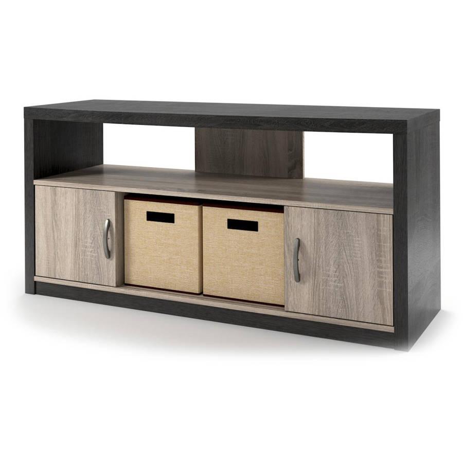 Highcrest TV Stand for TVs up to 50u0022 with 2 Fabric Bins - Espresso/Light Brown - Room & Joy