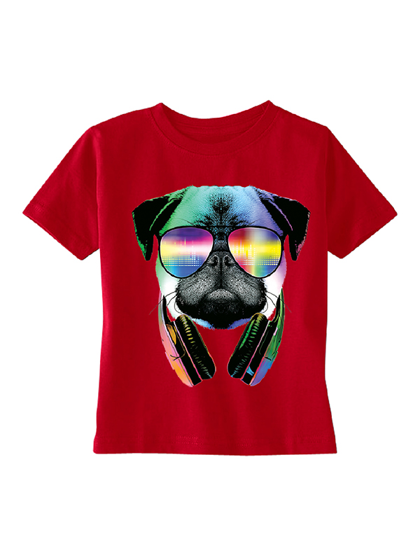 DJ Dog Pug Sun Glasses and Headphones Toddler T-shirt Red 5T