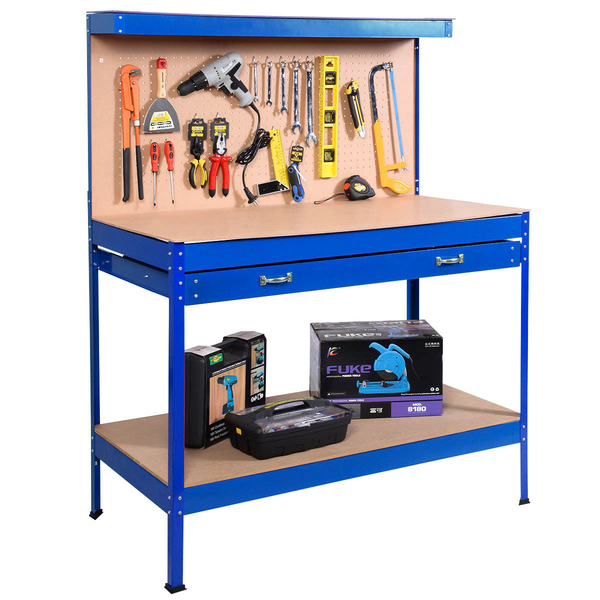 Costway Work Bench Tool Storage Steel Tool Workshop Table W/ Drawer and Peg Board Blue