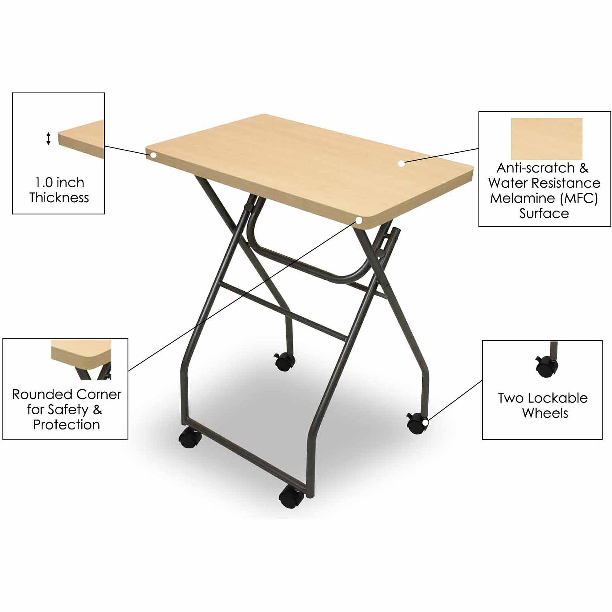 Furinno 11043 Easi Folding Multipurpose Personal Notebook Stand TV Tray Table