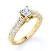 Vintage 1 Carat Princess Cut Diamond - Channel Set Band - Edwardian Engagement Ring in 10K Yellow Gold