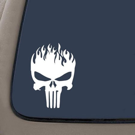 Punisher Skull On Fire Decal | 7.5 Inches By 5.2 Inches | White Vinyl Decal | Car Truck Van SUV Laptop Macbook Wall Decals