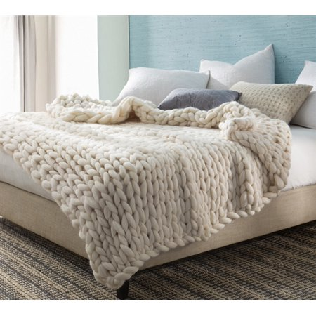 Pure Australian Woolen Blanket - Chunky Knit Oversized Bedding (Best Natural Fiber Blanket)