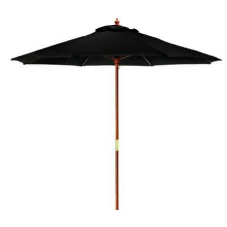 9 39 outdoor patio market umbrella black and cherry wood