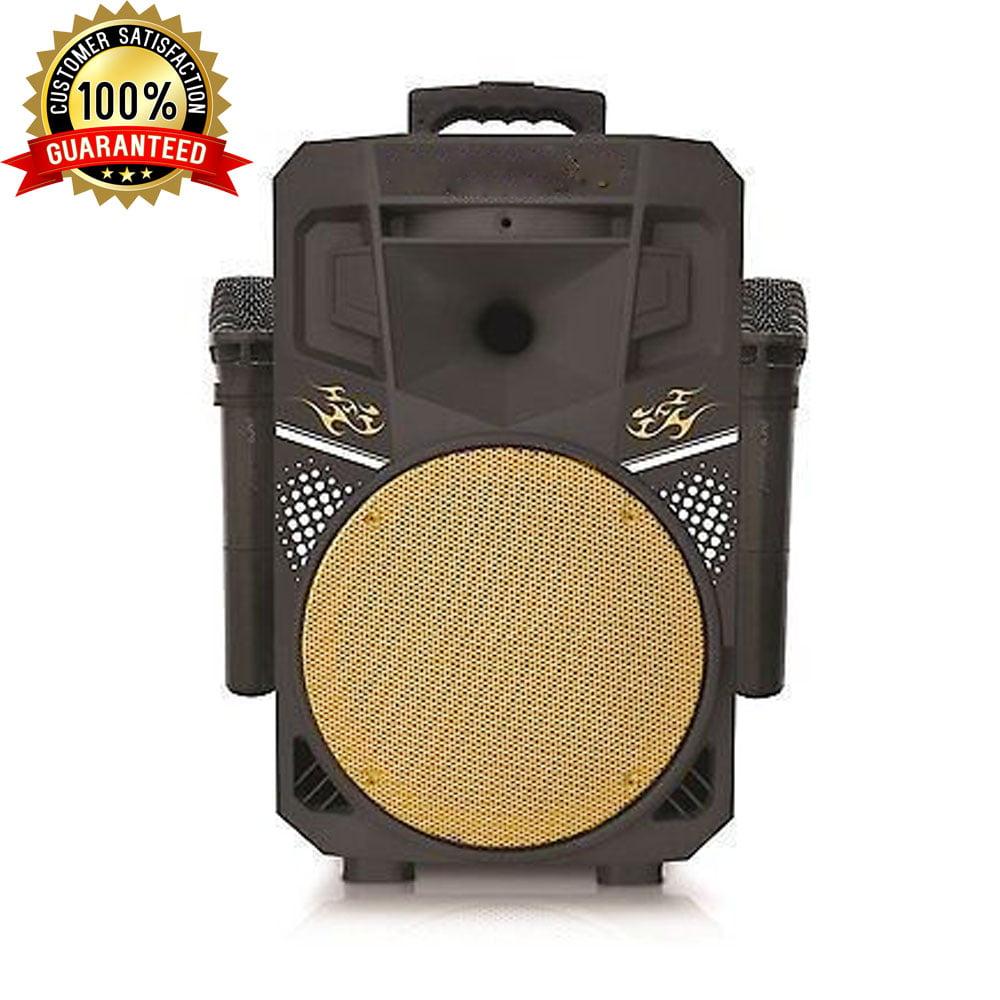 Portable Party Picnic USB Input Karaoke FM Radio Trolley Wheel Transportable Speaker - Black & Black Grill