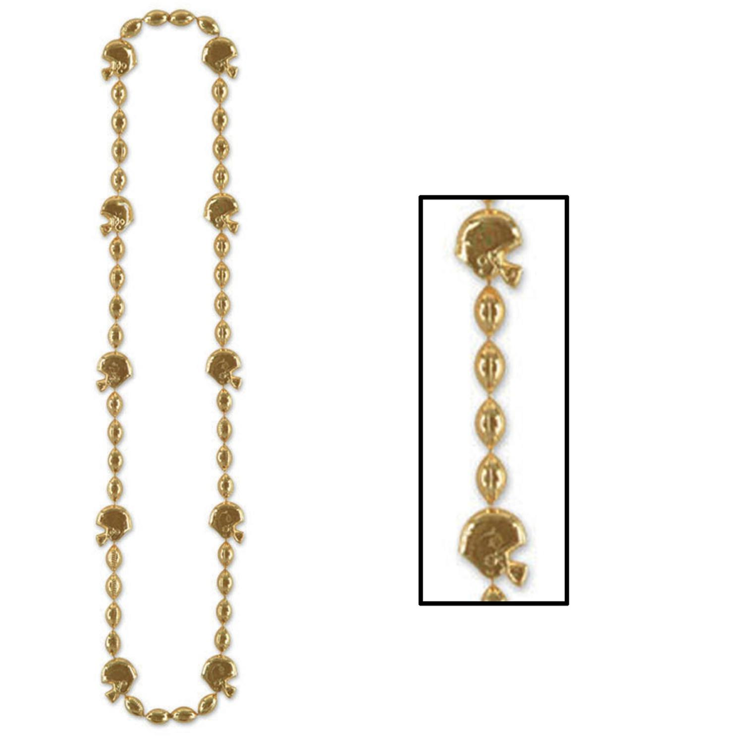 """Club Pack of 12 Metallic Gold Football Helmet Beaded Necklace Party Favors 36"""""""