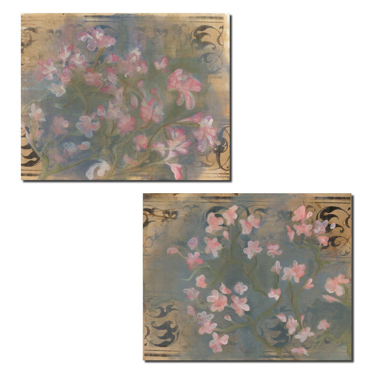 Gorgeous Soft Pink Blooming Cherry Blossoms Print Set; Two 14x11 Poster Prints