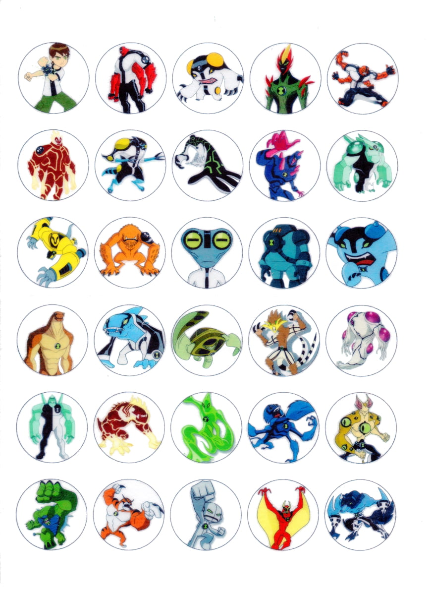 30 x Edible Cupcake Toppers – Ben 10 Aliens Themed ...