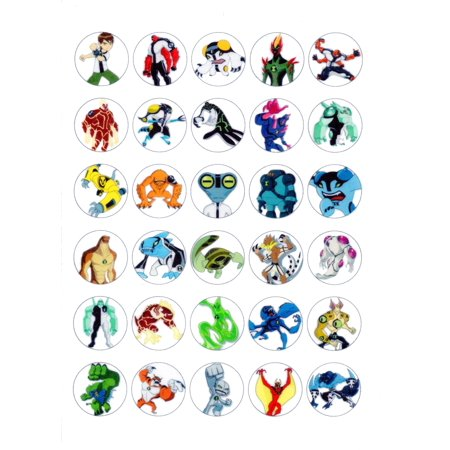 30 x Edible Cupcake Toppers – Ben 10 Aliens Themed Collection of Edible Cake Decorations | Uncut Edible Prints on Wafer Sheet](Cupcake Theme Decorations)