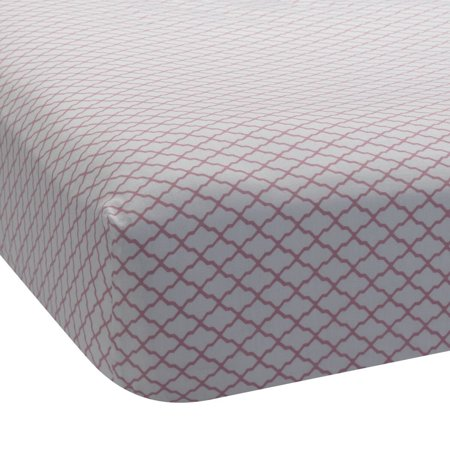 Lambs & Ivy Bunny Collection Lattice 100% Cotton Sateen Fitted Crib Sheet ()