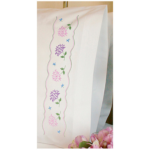 """Dimensions """"Hydrangeas"""" Pillowcase Pair Stamped Embroidery, 20"""" x 30"""""""