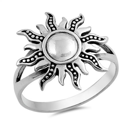 Sun Bezel Ring - Sun Cute Polished Ring New .925 Sterling Silver Band Size 6