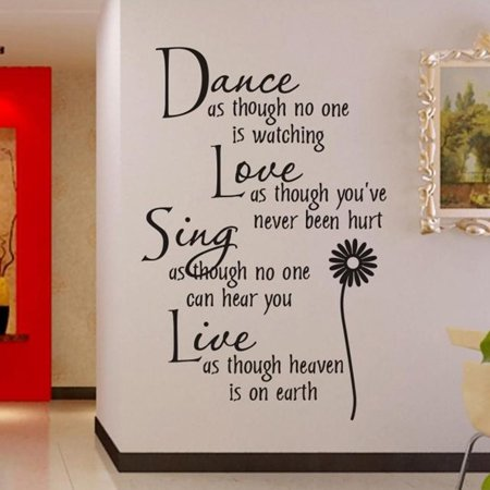 Outgeek Dance Love Sing Live Wall Sticker Letter Quotes Decals Removable Stickers Decor Vinyl Art Stickers for Living Room Bedroom Home ()