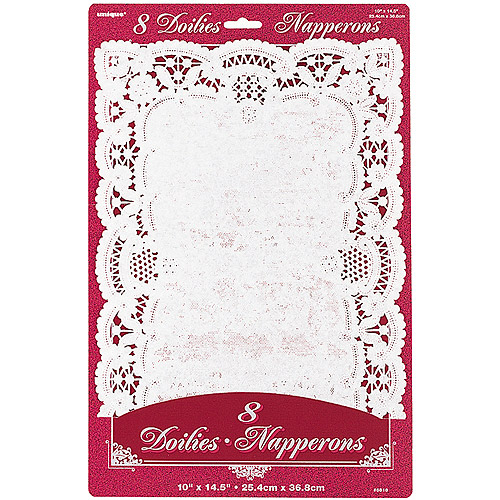 Rectangle White Lace Paper Doilies, 8ct