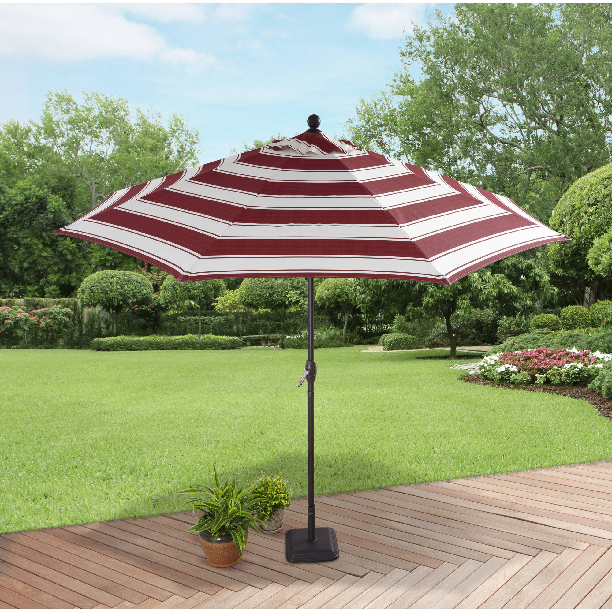 Better Homes and Gardens 9' Market Umbrella, Wide Cabana Stripe Red by