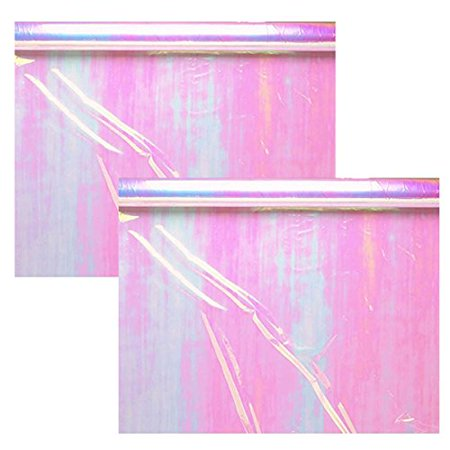 Amscan Functional Iridescent Opal Cellophane Wrap Party Gift Supplies, 2 Pieces, Made from Plastic, Opal Iridescent, 10 feet x 30