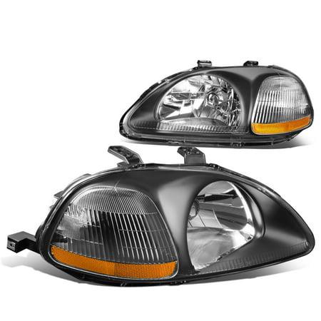 For 1996 to 1998 Honda Civic OE Style Headlight Black Housing Amber Corner Headlamps EJ EM EK 97 Left+Right ()