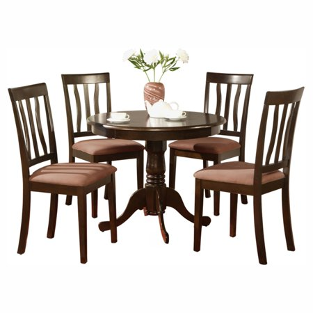 east west furniture antique 5 piece pedestal round dining table set with microfiber seat. Black Bedroom Furniture Sets. Home Design Ideas