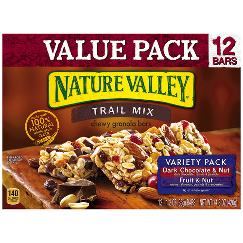 Nature Valley Trail Mix Dark Chocolate & Nut and Fruit & Nut Variety Pack Chewy Granola Bars, 1.2 oz, 12 count