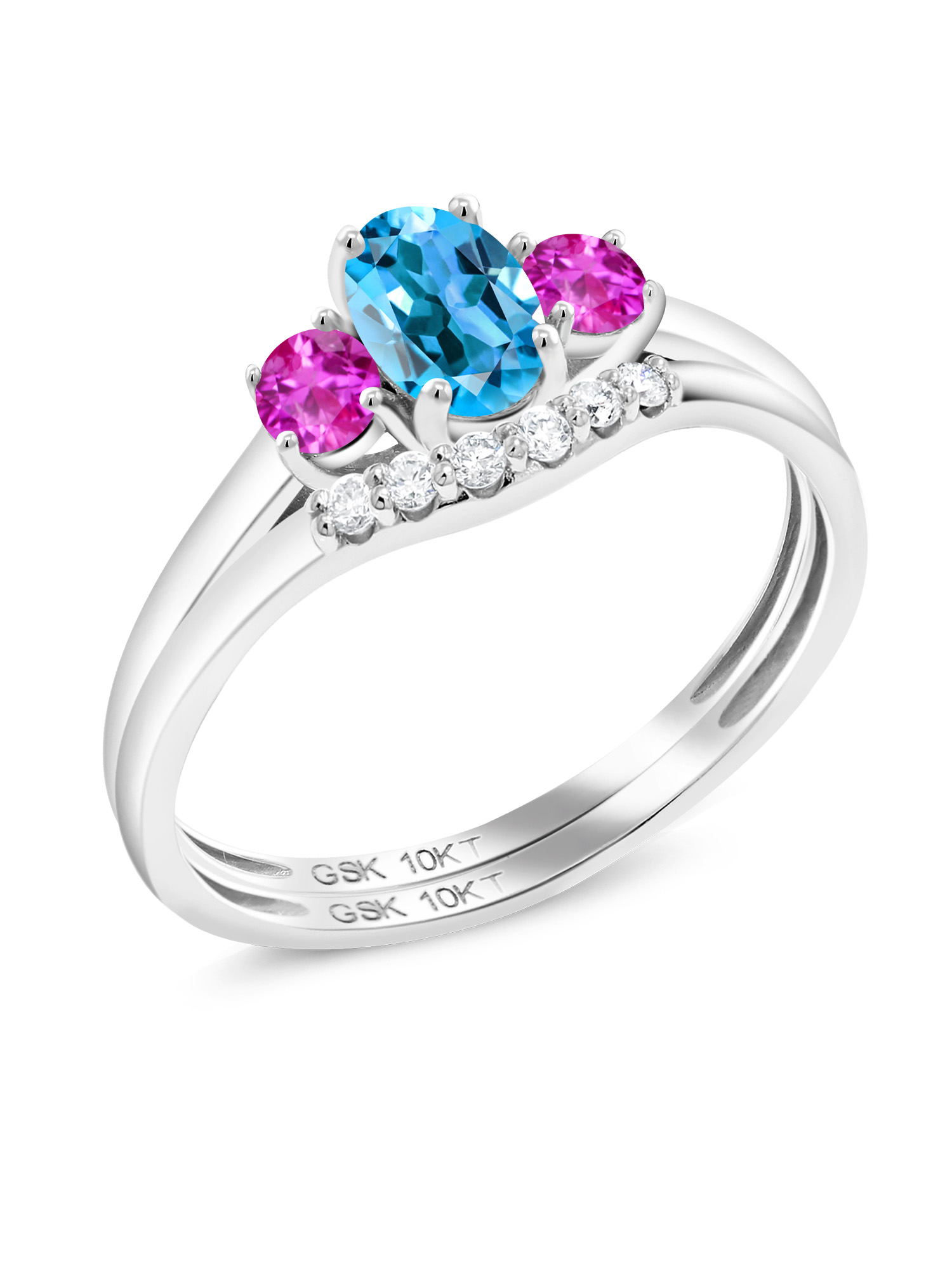0.82 Ct Oval Swiss Blue Topaz Pink Sapphire 10K White Gold Lab Grown Diamond Ring by