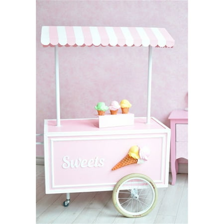 MOHome Polyster 5x7ft Little Girl Backdrop Sweet Ice Cream Cart Photography Background Kid Infant Child Toddler Artistic Portrait Indoor Photo Shoot Studio Props Video Drop - Halloween Photo Shoot Ideas For Infants