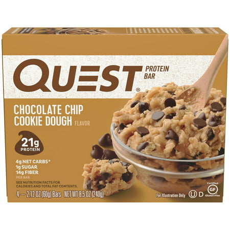 Quest Protein Bar, Chocolate Chip Cookie Dough, 21g Protein, 4 Ct ()