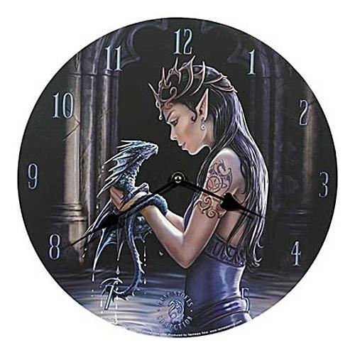 Anne Stokes Water Dragon Bedroom Wall Clock Round Gothic Medieval Clock Now9955 by Nemesis Now