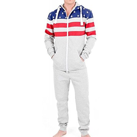 SkylineWears Mens Fashion One Piece Hooded Jumpsuit One Piece Non Footed Pajamas