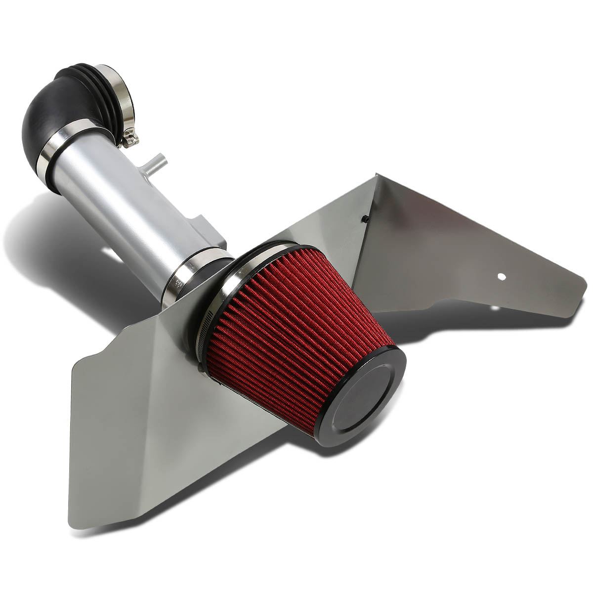 For 10-11 Chevy Camaro Silver Coated Aluminum Air Intake Pipe+Red Filter System - V6