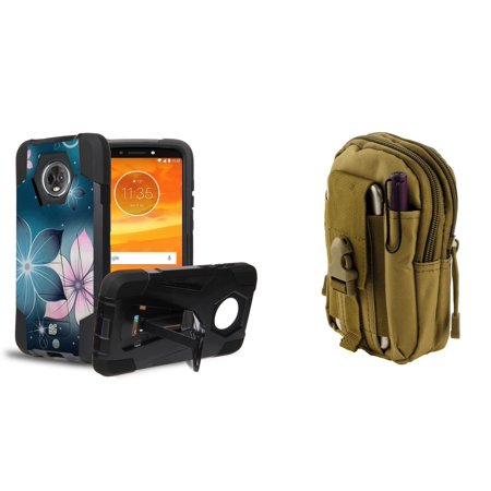 Slim Dual Layer Impact Resistant Kickstand Case (Mystic Flowers) with Khaki Tactical EDC MOLLE Waist Bag Holder Pouch and Atom Cloth for Moto E5 Play