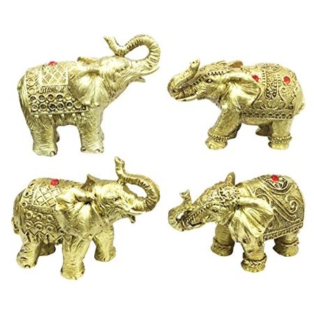 Golden Wildlife Noble Safari Trumpeting Elephants Pachyderm Family Figurine Collectible Set For Wildlife Elephant Lovers Buddhism Faith Asian Decor